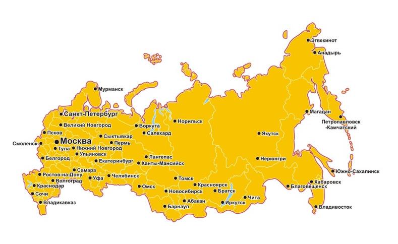 Карта филиалов и представительства.