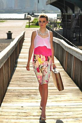 Vertical Strip Pencil Skirt