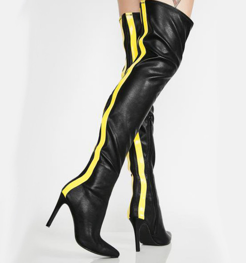 20a44eaa635 Black   Yellow Over Knee Boots