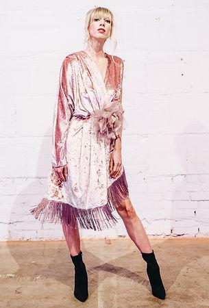 Fringe Mauve Silk Velvet Floral dress