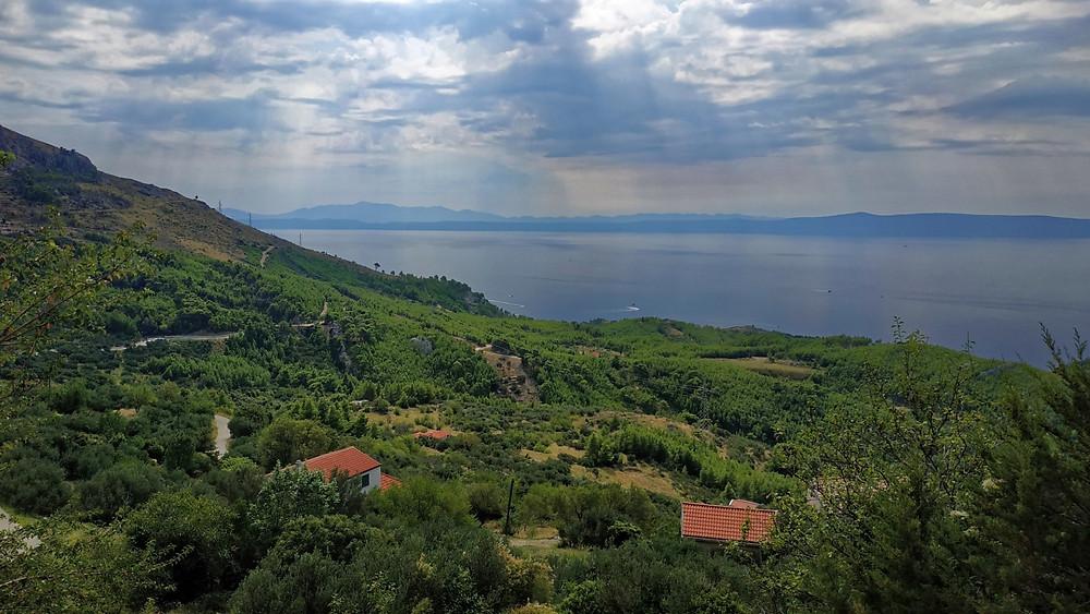View of island Hvar and peninsula Peljesac from Kotisina village near Makarska in Croatia