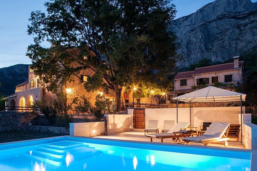 Swimming pool Villa Silva in Old Tucepi village near Makarska in Croatia