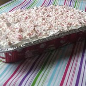 Red Velvet Pudding Cake with Whipped Peppermint Frosting