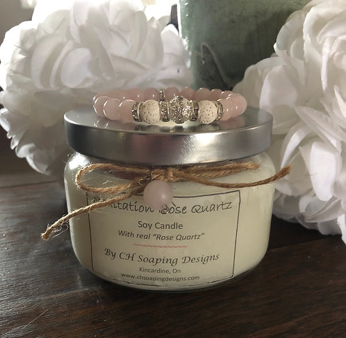 Meditation Rose Quartz Soy Candle with Bracelet