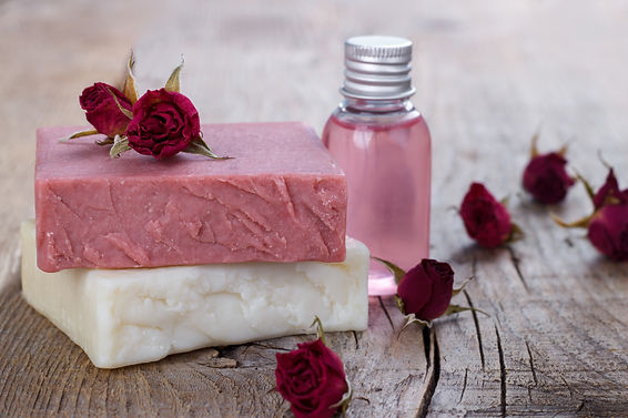Natural hand made soap with dry pink ros
