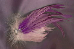 $40 Large Feather Fascinator -Violets Available in a Variety of Shapes and Colou