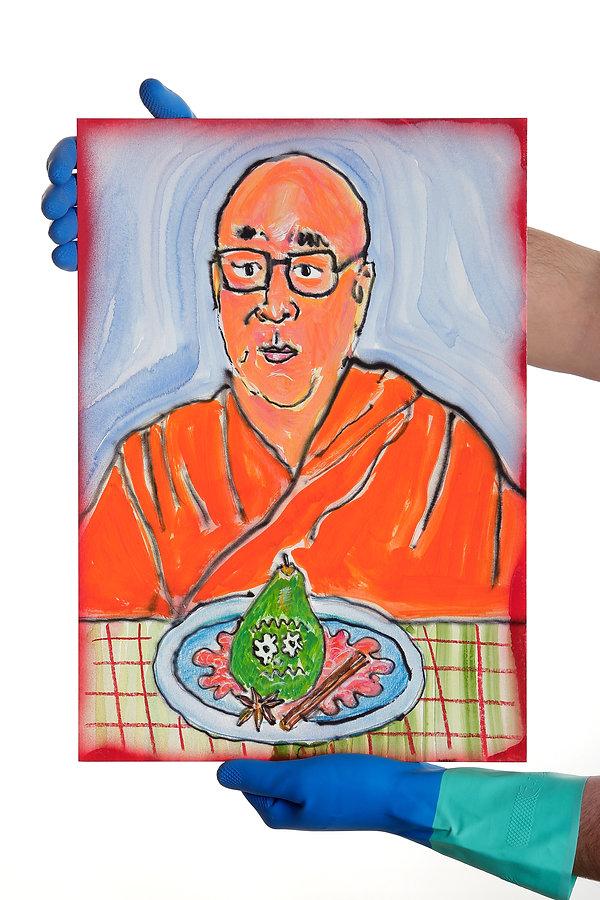 Dalai y su pera.JPG
