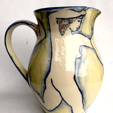 Green and Blue earthenware jug
