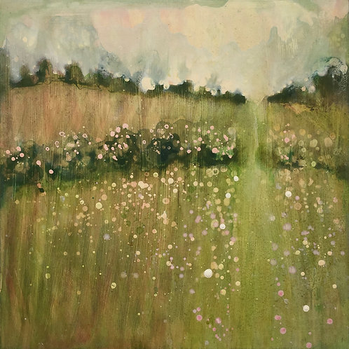 Sussex print, Spring meadow, Sussex painting, South Downs, Hedgerows, art print