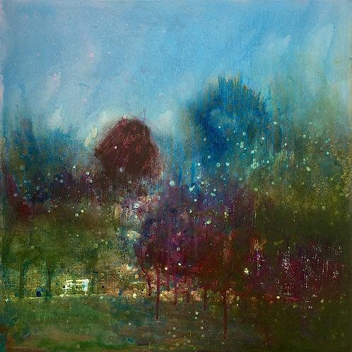 Summer painting, 50 x 50 cms, Blue sky, Treescape, garden love, Summer lovers, garden walks, Sussex artist