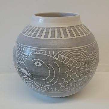 Grey fish Moon Jar