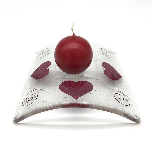 'Fired Hearts' Square Candle Bridge
