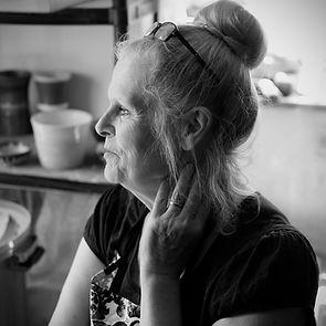 Ceramicist Jane Bridger in her studio