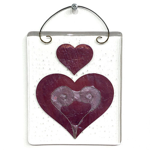 'Two Fired Hearts' Hanging