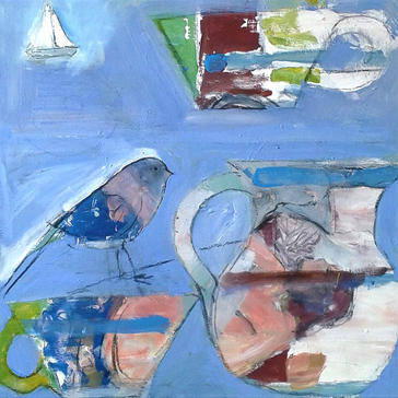 Bird jug and boat in pale blue