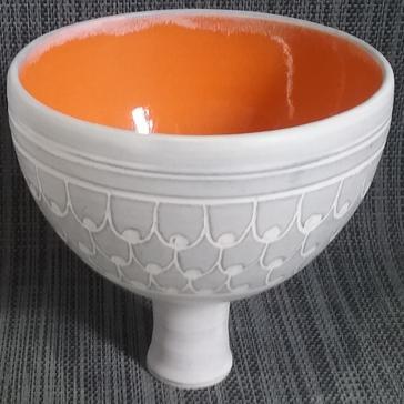 Grey and Orange Pedestal Bowl