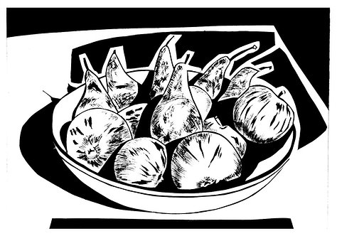 Apples and pears in a bowl by Joan Wilkes