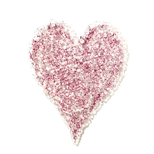 Long Pebbly Heart Hanging (Clear & Fuchsia)