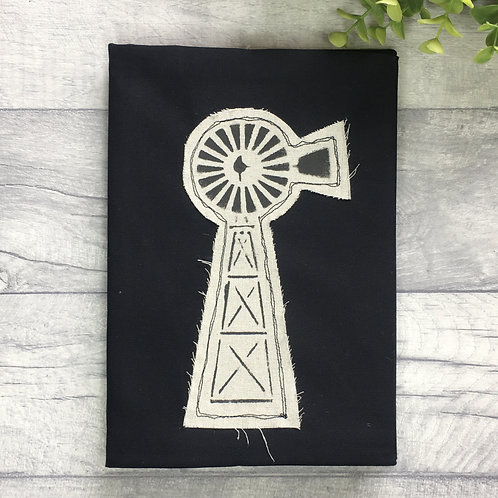 Fabric Covered Note book - Appliqued Windmill