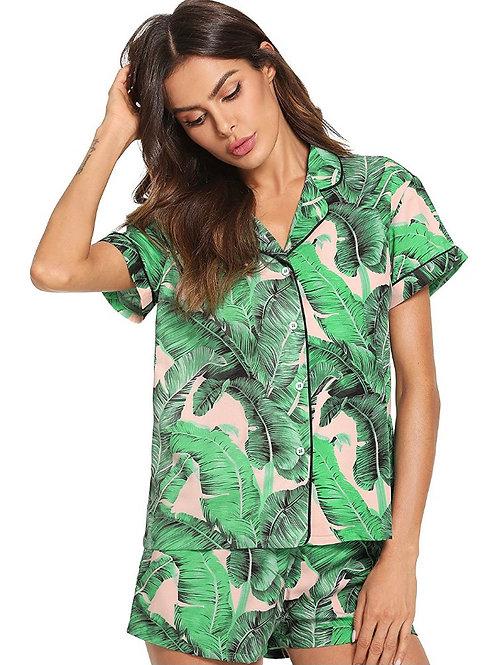 Palm Leaf Pajama Set (blush)