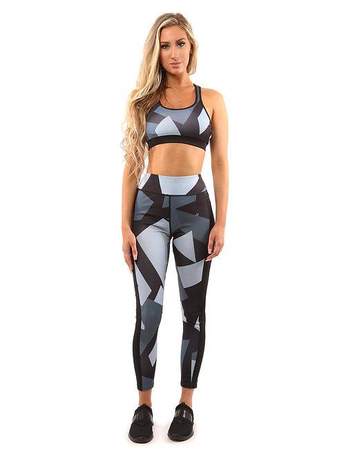 """Get in Shape"" Set - Leggings & Sports Bra - Black/Grey"