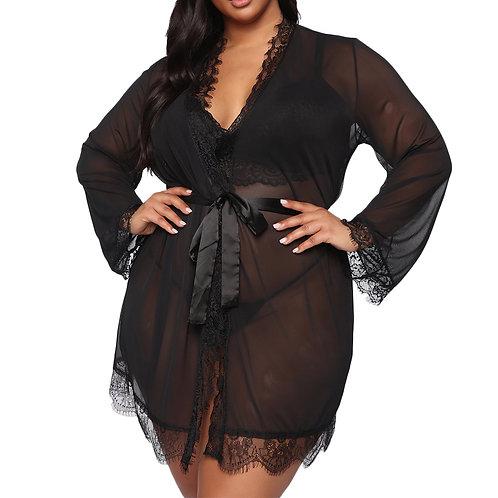 Black Lace Robe -Plus Size