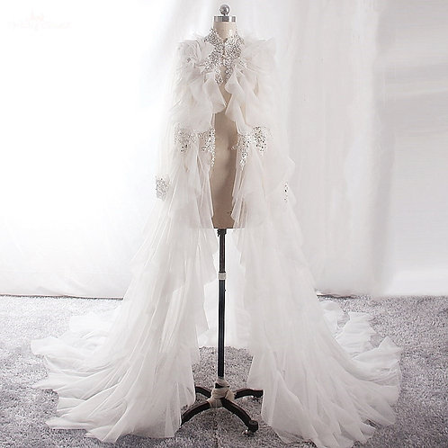 Enchantée Sheer Bridal Cape (with sleeves)
