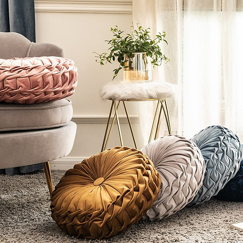 Round A Way Pleated Throw Cushion