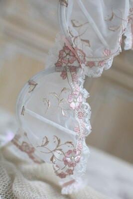 White Lace Pink Trim