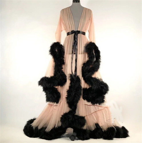 Faux Feather Lux Dressing Gown