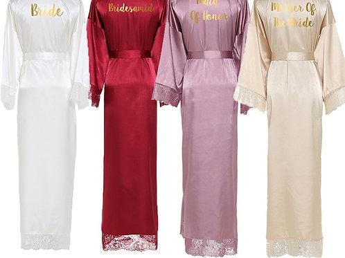 Long Satin Bridal Group Robes