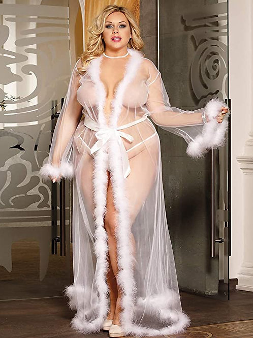 She-Sheer Faux Fur Trim Lux Robe