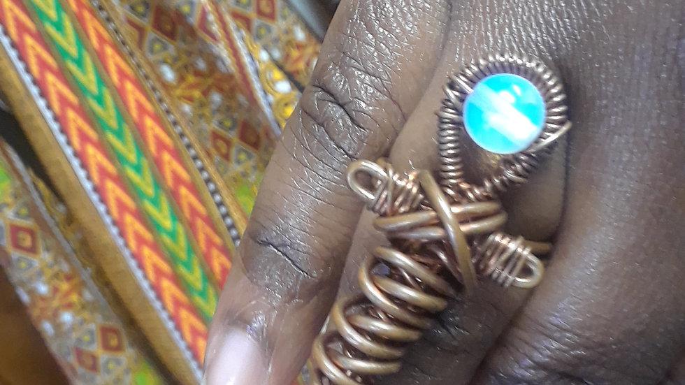 Clear Quartz Copper Ring