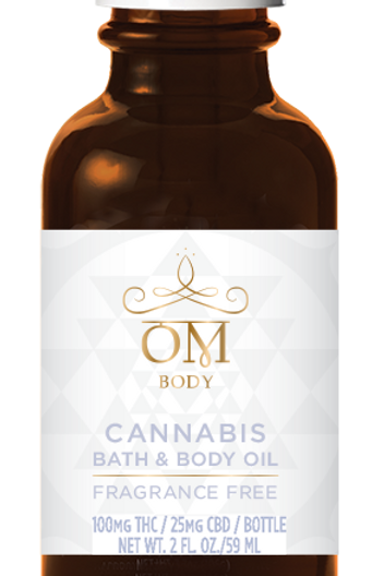 OM Body Fragrance Free Bath and Body Oil 100 MG THC & 25 MG CBD