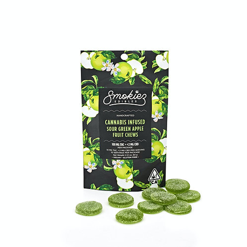 Smokiez Fruit Chews Sour Green Apple 100mgTHC