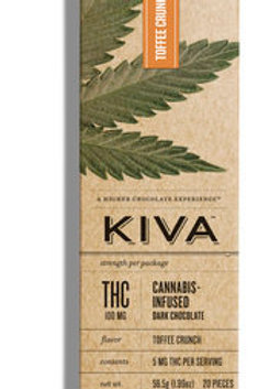 Kiva Bar Toffee Crunch Chocolate 100mg THC