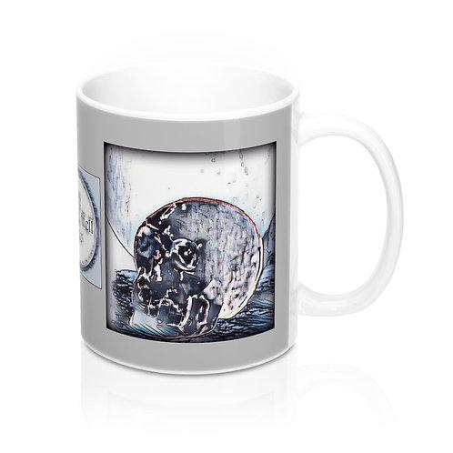 Gray Crystal Skull Full Moon art Coffee Mug Between Heaven and Hell Boutique