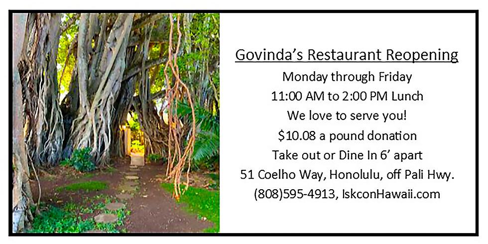Re-Opening Govinda's Restaurant