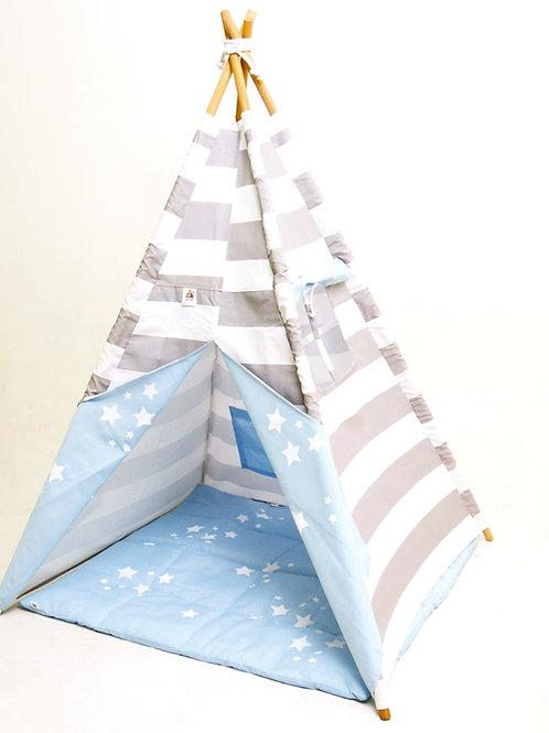 cabana listra branco e cinza com forro azul-estrelas brancas