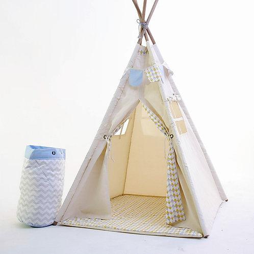 Cabana 2 tecidos cru e triangular cinza e amarelo