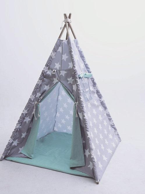 Cabana Cinza com Estrelas Brancas e forro verde menta
