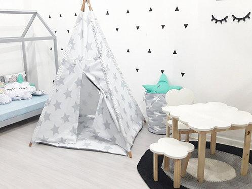 Cabana Branca Estrelas Cinza