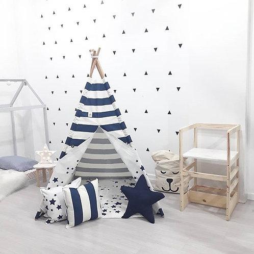 Cabana Listras Azul Marinho com Forro de Estrelas Azul Marinho