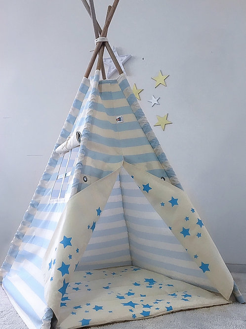 Cabana Listras e Estrelas Azul bebê