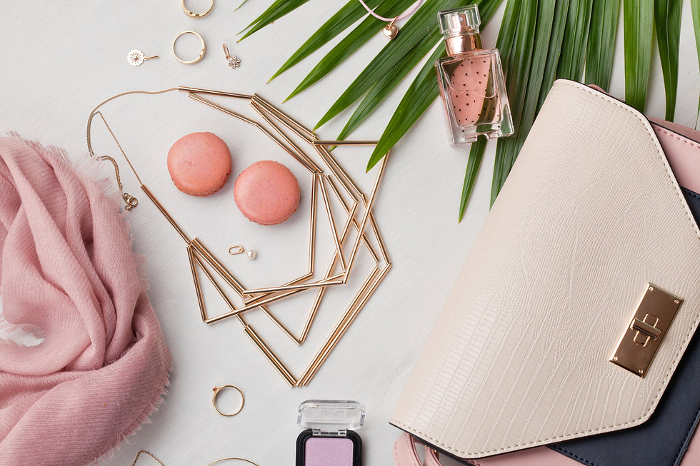 Flat lay with women accessories. Fashion