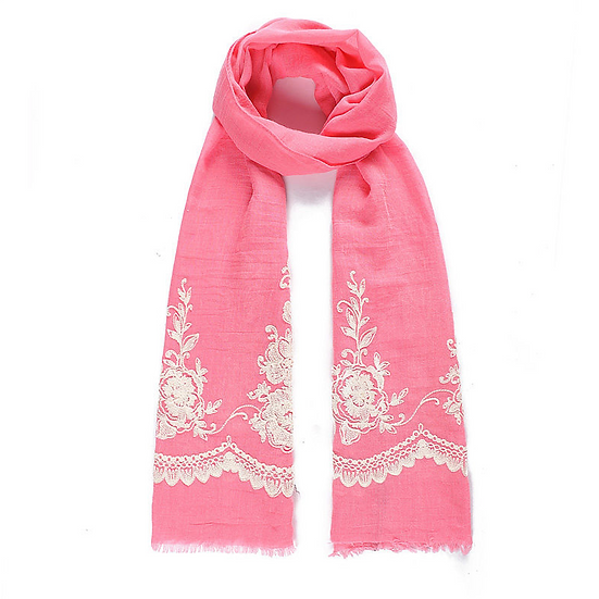 Pink Embroidered Scarf