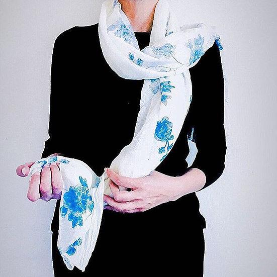 Cream & Blue Floral Scarf