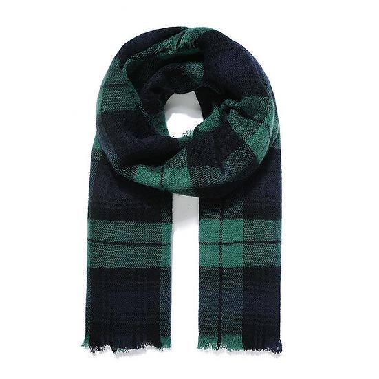 Green & Navy Blanket Scarf