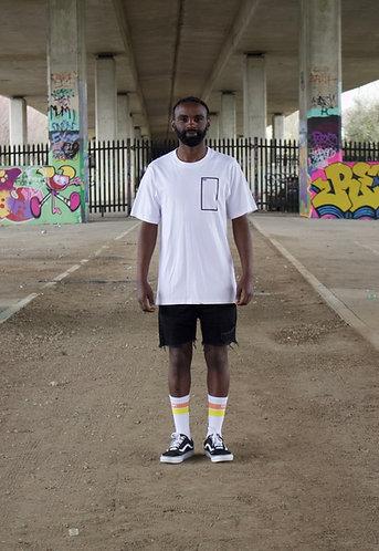Oversized short sleeved t-shirt in white with frame print
