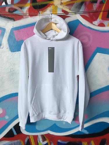strip print hoodie in white with grey print